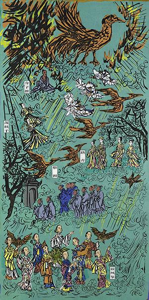 赵宗藻、蔡枫、孔国桥、于洪、周崇涨、鲁利鋒版画《四时四节——中国四大传统节日之清明节》