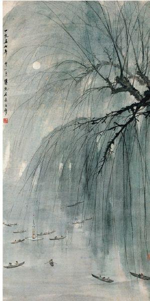 傅抱石 春夜玄武湖 140×70cm 1957年