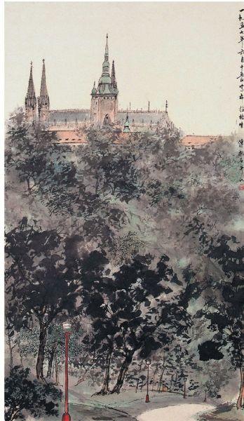 傅抱石 布拉格宫 105.6×61.1cm 1957年